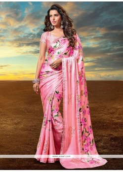 Classy Satin Pink Print Work Designer Saree