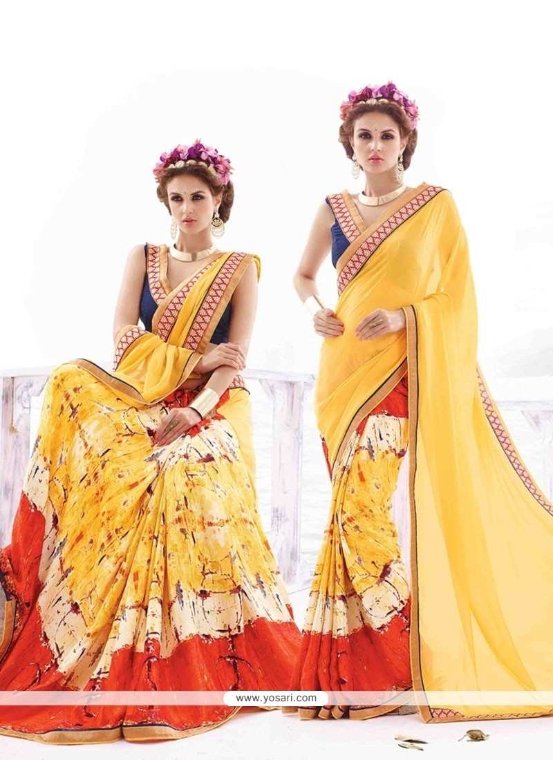 Fab Print Work Georgette Casual Saree