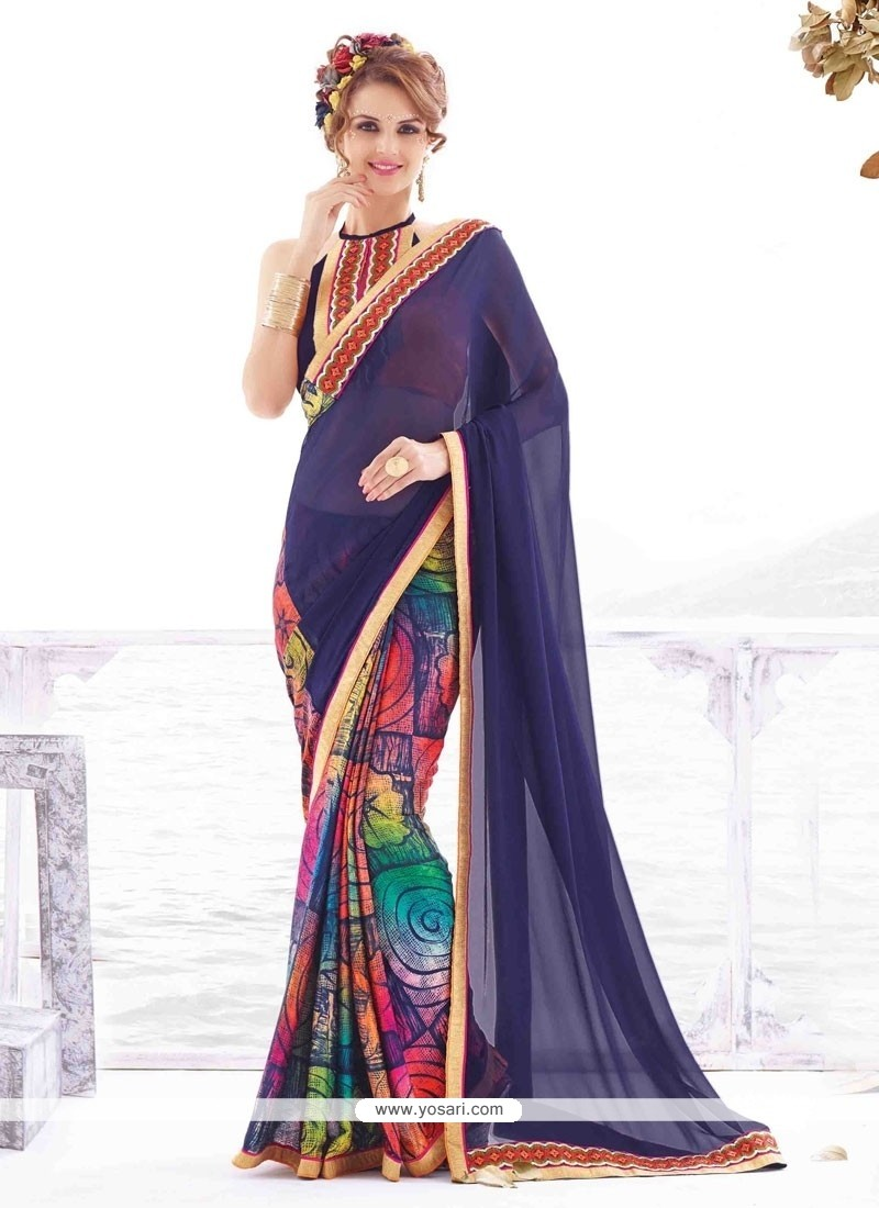 Picturesque Georgette Lace Work Casual Saree