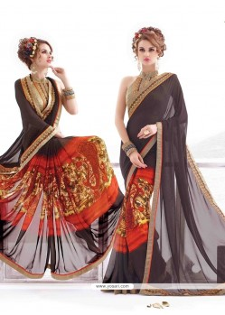 Exquisite Print Work Georgette Casual Saree