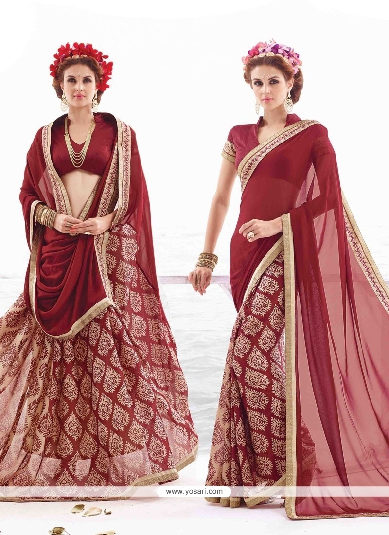 Lovely Lace Work Georgette Casual Saree