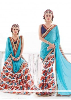 Arresting Multi Colour Print Work Georgette Casual Saree