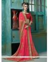Gripping Hot Pink Lace Work Georgette Designer Saree