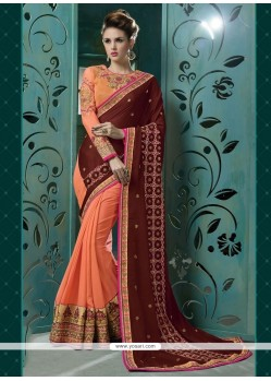 Lovely Resham Work Peach Faux Chiffon Designer Saree