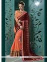 Lovely Resham Work Peach Faux Chiffon Designer Saree
