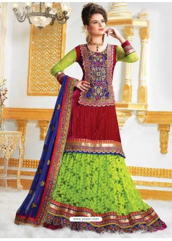Green Net Jacquard Long Lehenga Choli