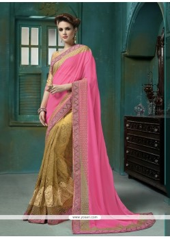Scintillating Georgette Pink Embroidered Work Designer Saree