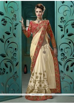 Praiseworthy Net Cream Designer Saree