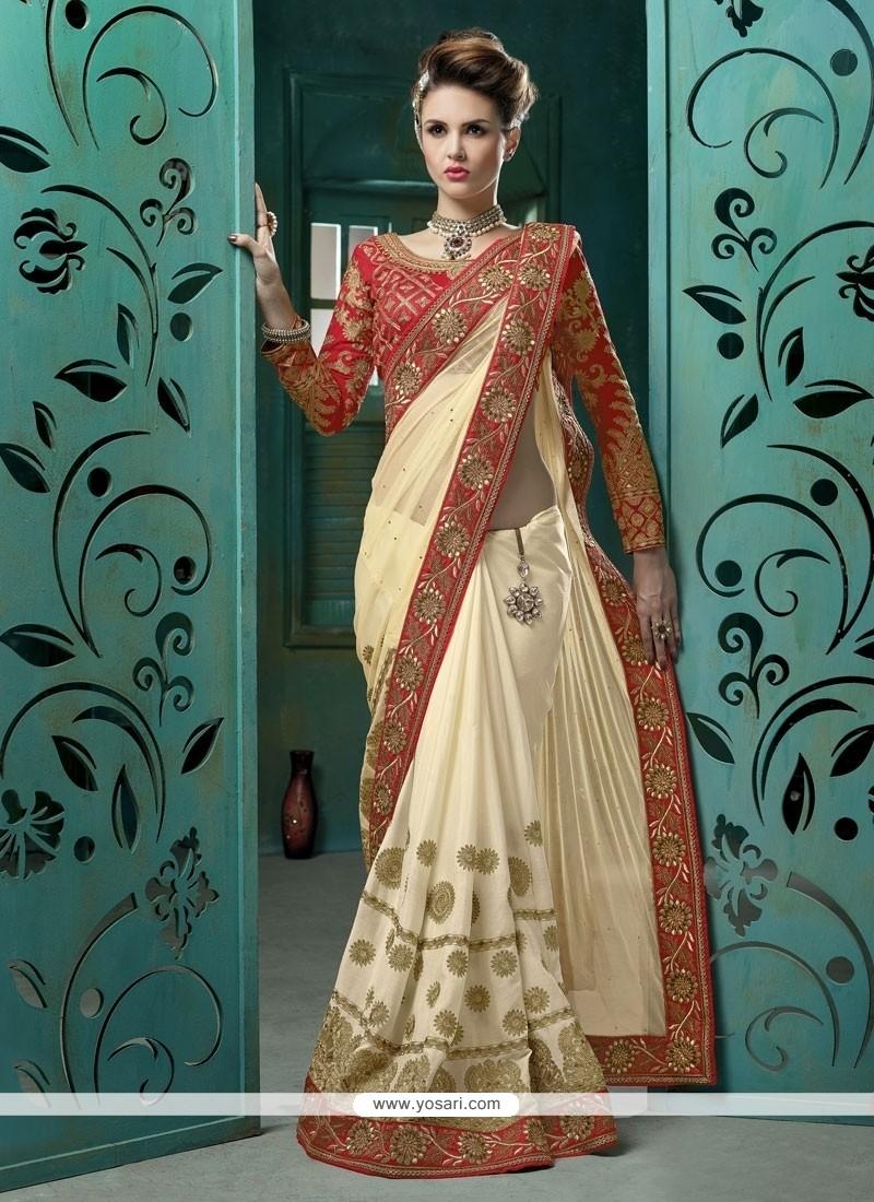 Praiseworthy Net Cream Designer Saree