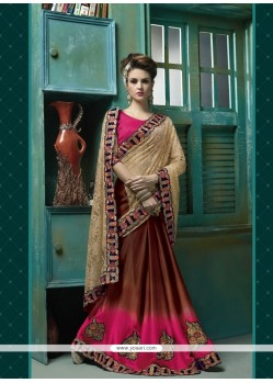 Cute Brown Patch Border Work Jacquard Designer Saree