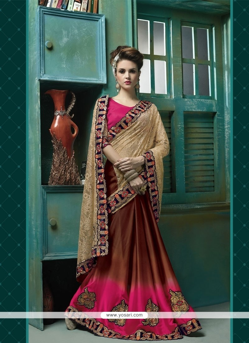 Cute Brown Patch Border Work Jacquard Designer Saree