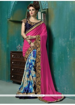 Dilettante Georgette Hot Pink Zari Work Designer Saree