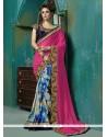 Dilettante Georgette Hot Pink Zari Work Designer Saree