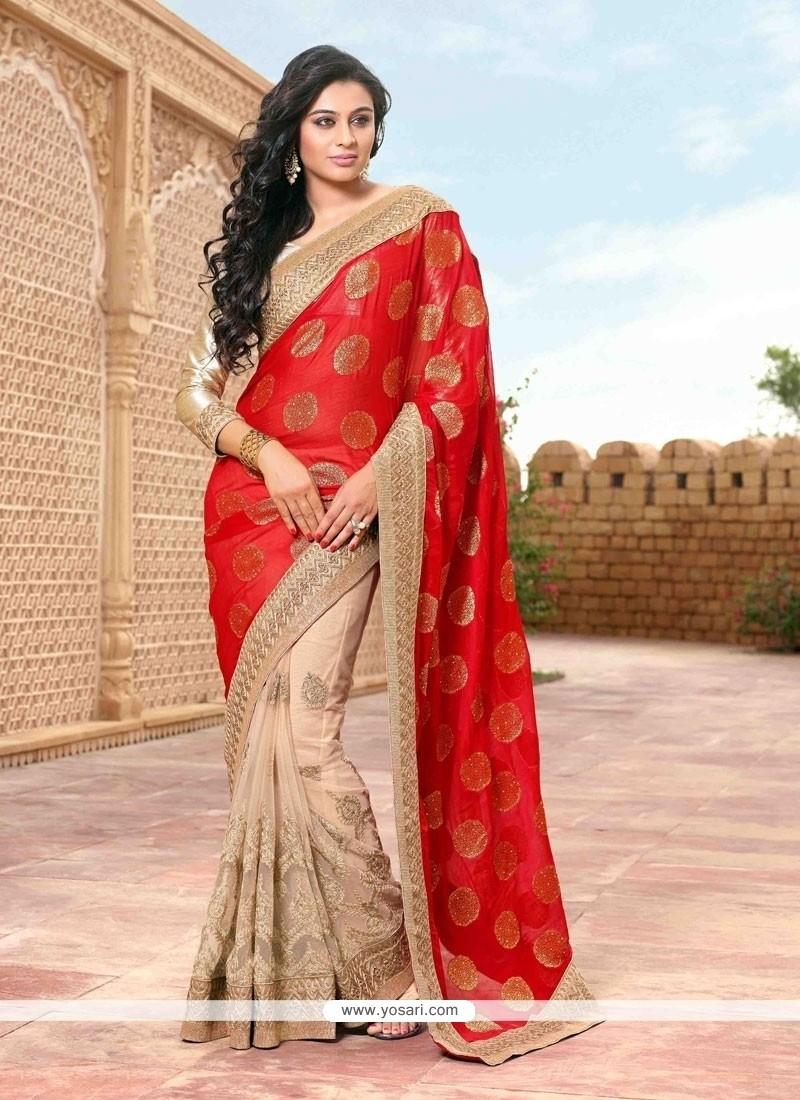 Picturesque Red And Beige Embroidered Work Georgette Designer Saree
