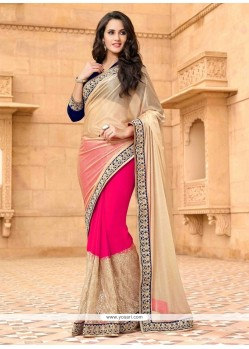 Conspicuous Hot Pink Net Designer Saree