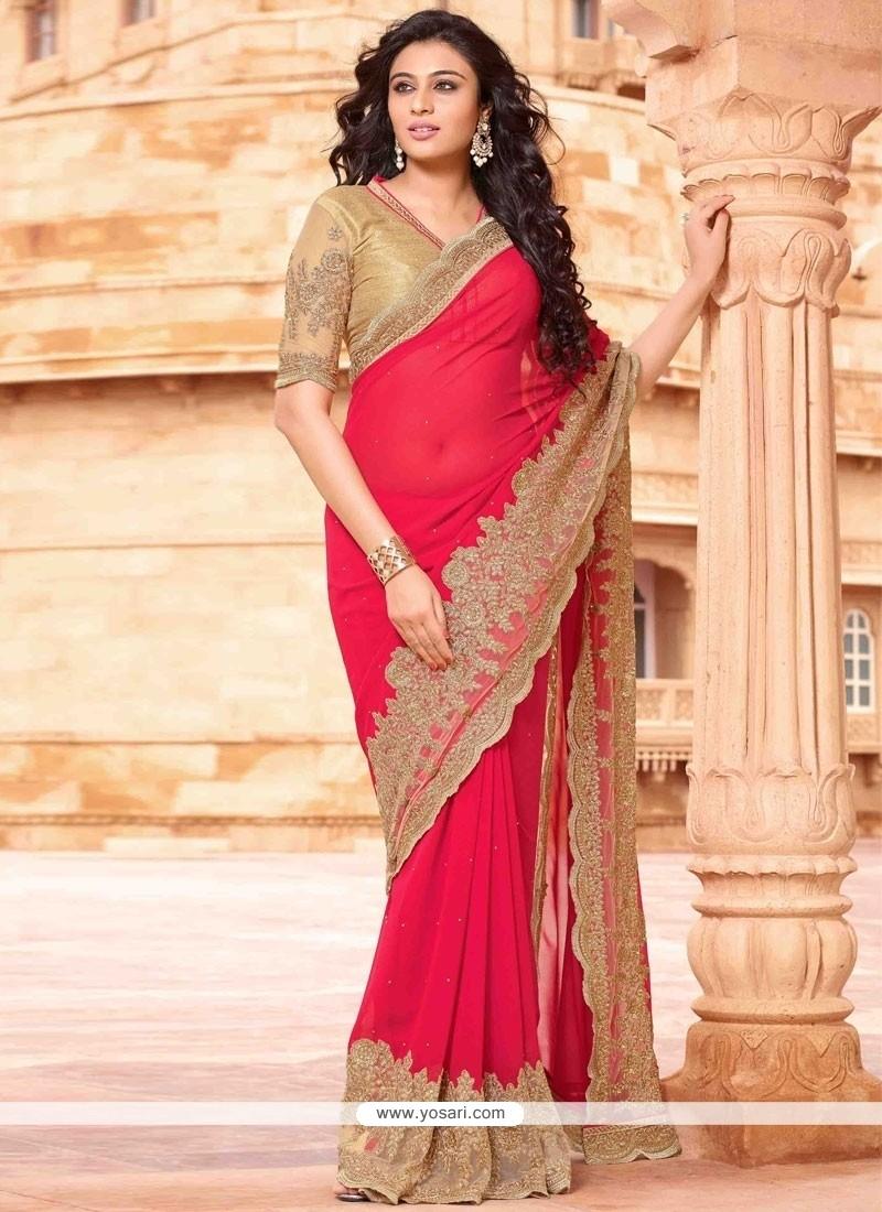 Invaluable Hot Pink Embroidered Work Designer Saree