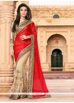 Princely Patch Border Work Red And Beige Designer Saree