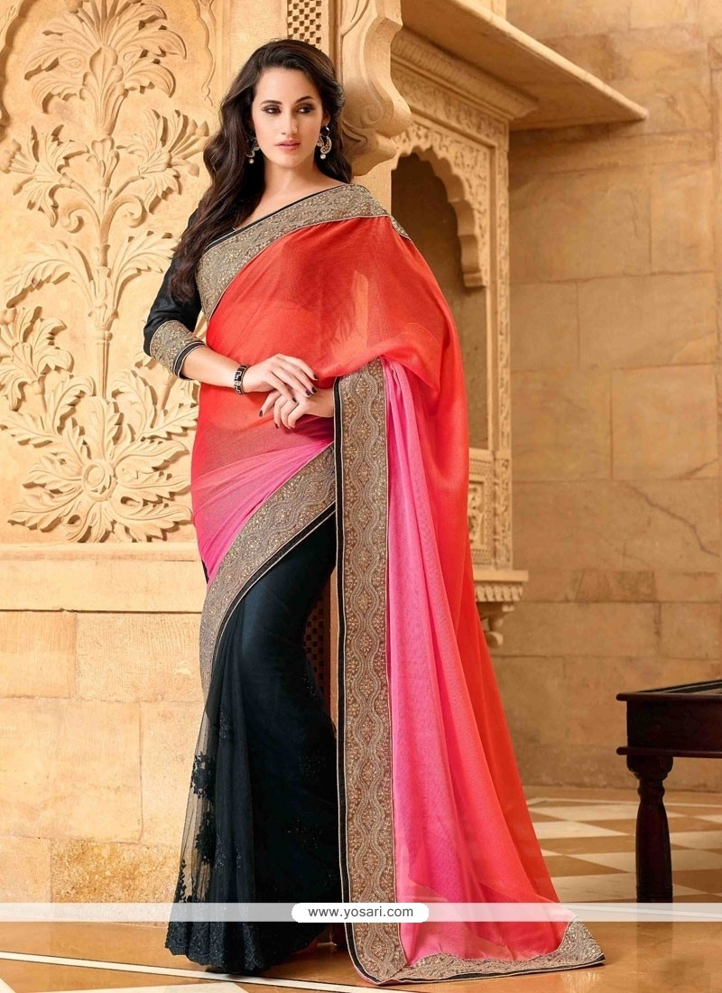 Exceeding Black Patch Border Work Faux Chiffon Designer Saree