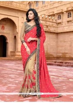 Glamorous Net Red Designer Saree