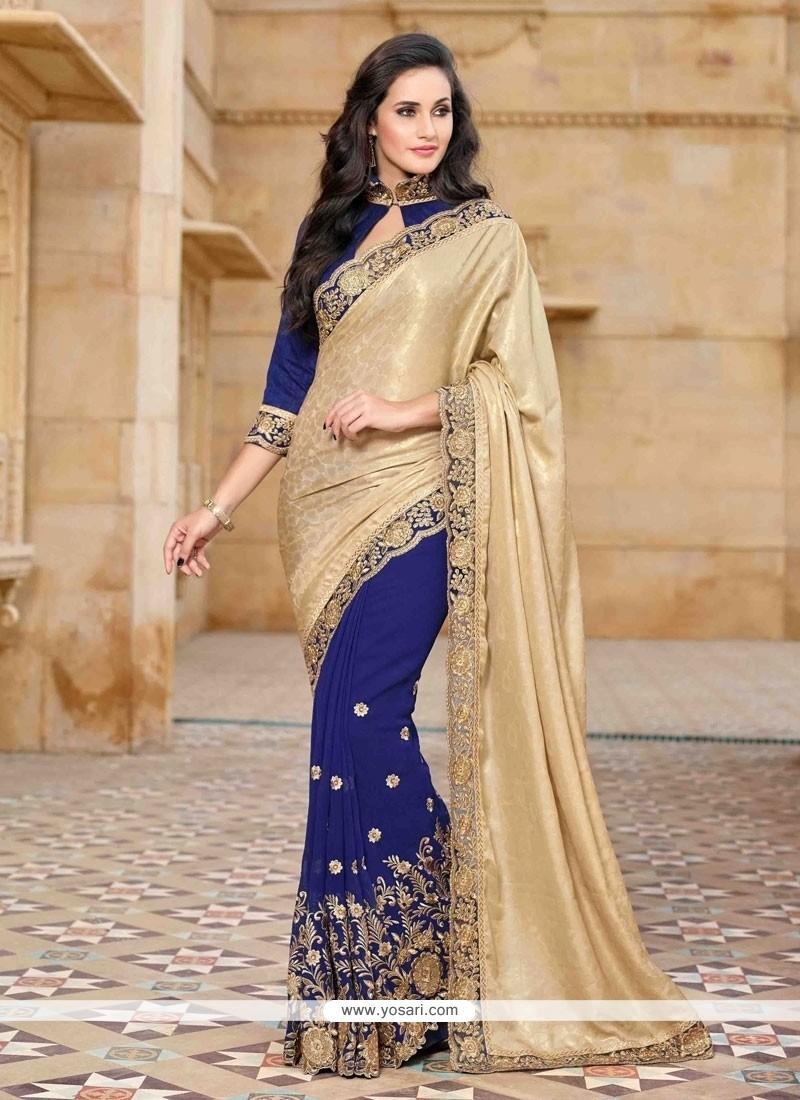 Lurid Satin Blue Embroidered Work Designer Saree