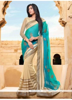 Glossy Patch Border Work Designer Saree