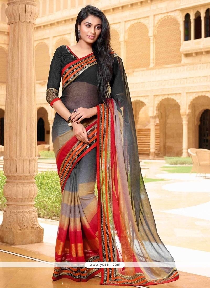Suave Satin Multi Colour Designer Saree
