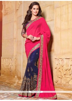 Surpassing Faux Chiffon Patch Border Work Designer Saree