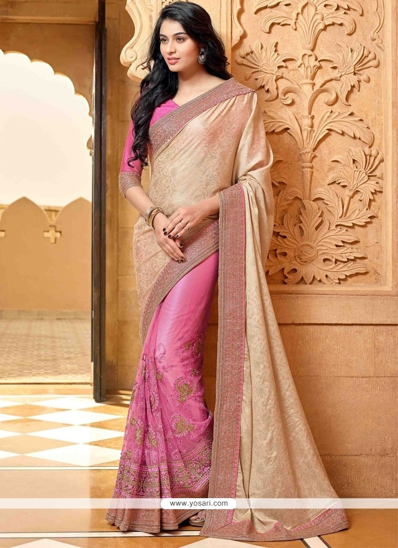 Modish Pink Faux Chiffon Designer Saree