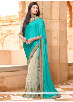 Turquoise Embroidered Work Net Designer Saree