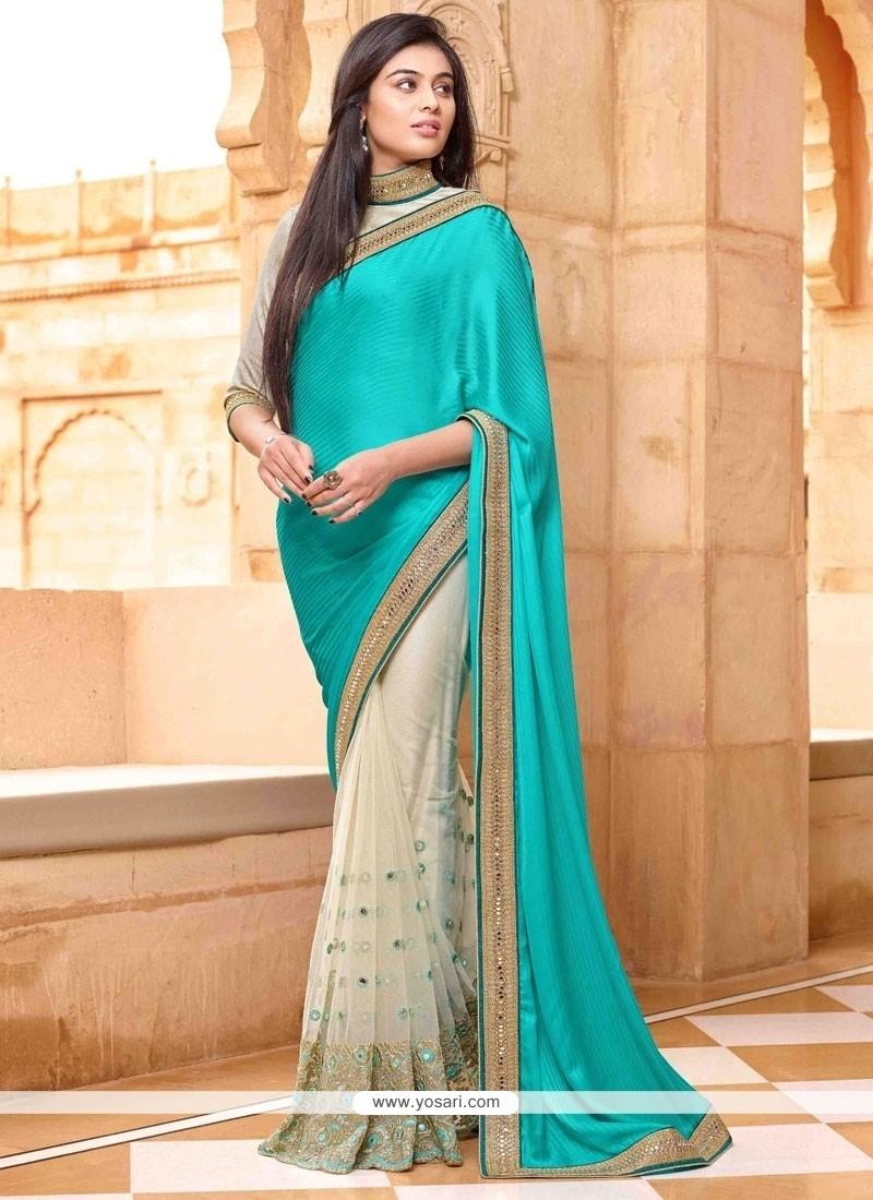 Turquoise Embroidered Work Net Designer Saree