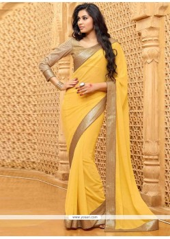 Groovy Yellow Embroidered Work Georgette Designer Saree