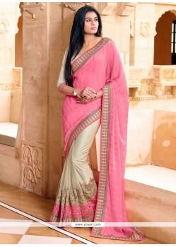 Masterly Faux Chiffon Pink Designer Saree