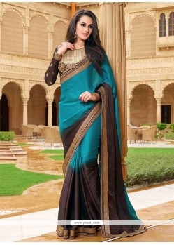 Angelic Patch Border Work Brown Satin Designer Saree