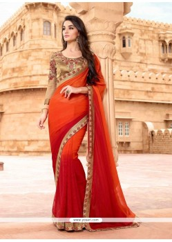 Glitzy Red And Orange Patch Border Work Designer Saree