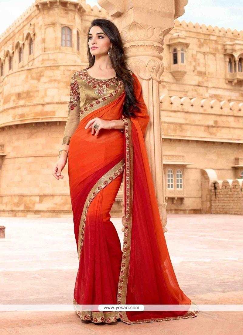 Glitzy Red And Orange Patch Border Work Designer Saree