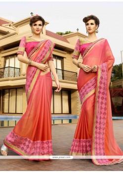 Sunshine Lace Work Peach Faux Chiffon Designer Saree