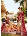 Sensational Zari Work Faux Chiffon Designer Saree