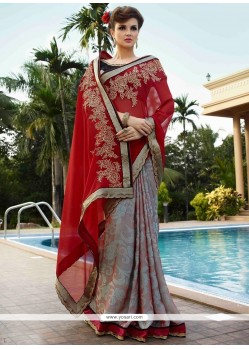 Lustre Georgette Lace Work Designer Saree