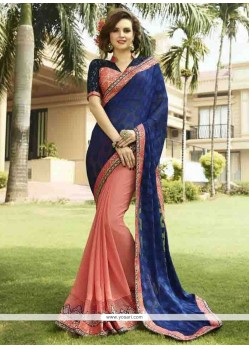 Awesome Georgette Peach Designer Saree