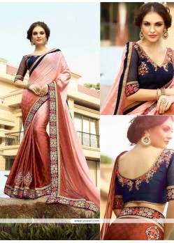 Sumptuous Peach Embroidered Work Designer Saree