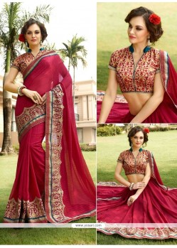 Delectable Red Georgette Designer Saree