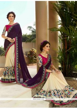 Dashing Georgette Cream Resham Work Designer Saree