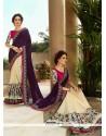 Dashing Georgette Cream Resham Work Designer Saree