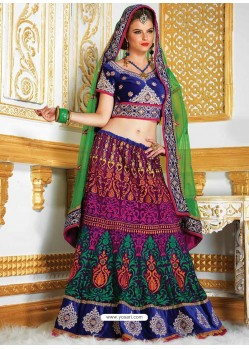 Multicolored Resham Enhanced Velvet Lehenga Choli