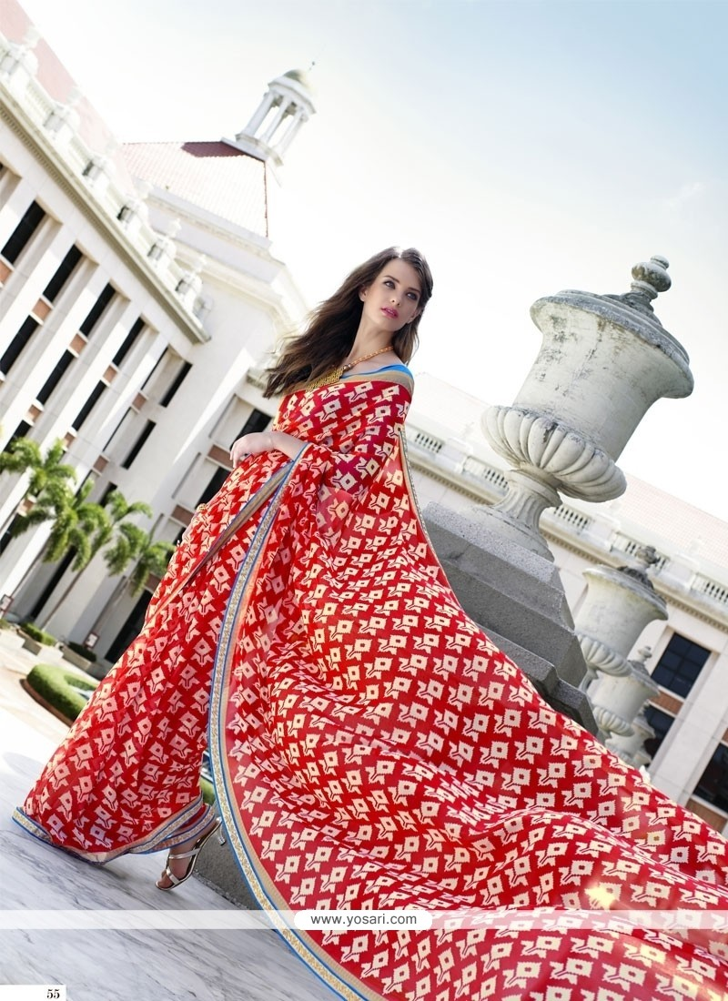 Riveting Georgette Print Work Casual Saree