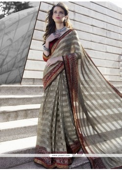 Imposing Faux Chiffon Grey Casual Saree