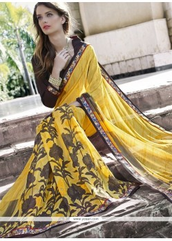 Lordly Georgette Yellow Casual Saree