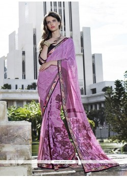 Prominent Georgette Lavender Casual Saree