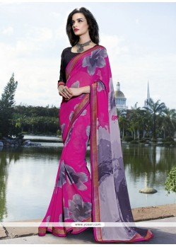 Fashionable Print Work Multi Colour Georgette Casual Saree