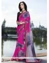 Fashionable Print Work Multi Colour Georgette Casual Saree